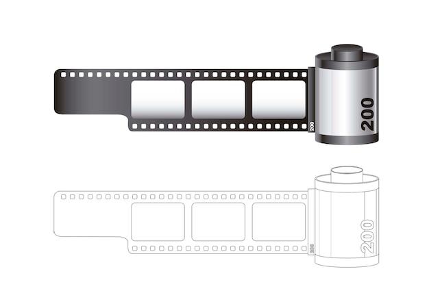Rolo de filme de câmera com linhas isoladas