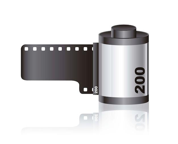 Rolo de filme de câmera com sombra
