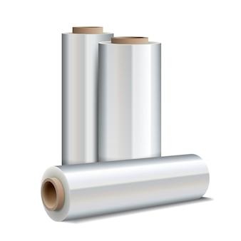 Rolo de filme plástico extensível de embalagem isolado no branco