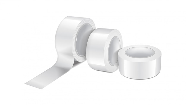 Rolo de fita adesiva brilhante branco. conjunto de modelo realista de fita adesiva, rolo de fita adesiva