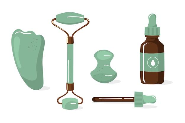 Rolo de jade desenhado à mão plana e gua sha