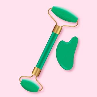Rolo de jade realista e conjunto gua sha