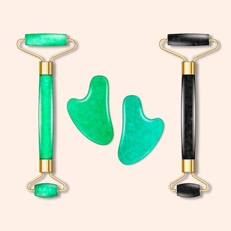 Rolo de jade realista e ilustração de gua sha