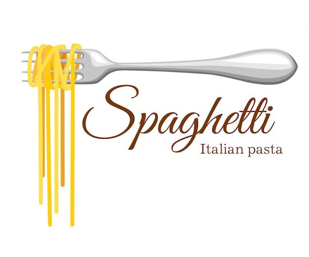 Rolo de massa no garfo. massa italiana com silhueta de garfo. garfo preto com espaguete no fundo amarelo. mão segurando um garfo com espaguete.