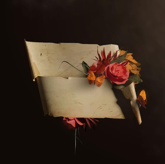 Rolo de papel antigo ou modelo de pergaminho com lindas flores e borboletas
