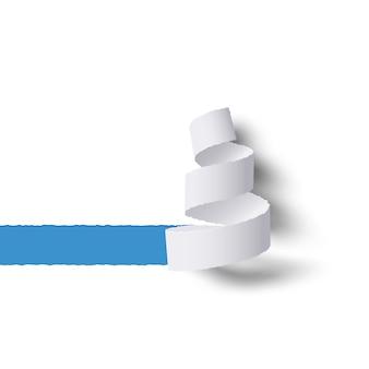 Rolo de papel branco rasgado com sombras, espaço de cópia azul para tex