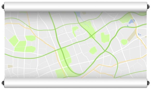 Rolo de papel com mapa de ruas