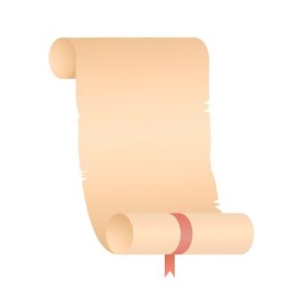 Rolo de papel de papiro em uma ilustração de rolo