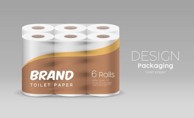 Rolo de papel de seda de plástico longo, um pacote de seis rolos, desenho marrom e amarelo sobre fundo cinza, ilustração