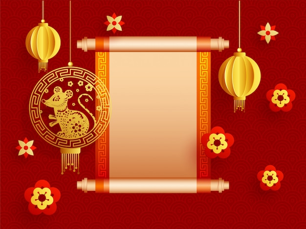Rolo de papel em branco vintage dado para sua mensagem com lanternas de corte de papel, signo de rato e flores decoradas em vermelho padrão chinês.
