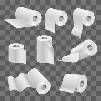 Rolo de papel higiênico branco e toalhas de cozinha isoladas em transparente