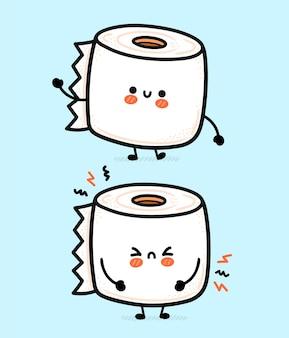 Rolo de papel higiênico branco fofo, engraçado, feliz e triste