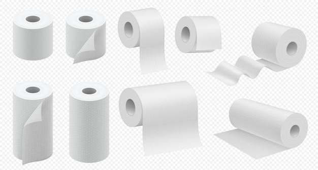 Rolo de papel higiênico. fita de banheiro e modelo de toalha de papel de cozinha. pacote de tecidos de higiene realista. guardanapos de papel tubo ilustração