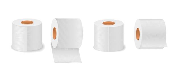Rolo de papel higiênico para banheiro isolado no branco