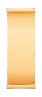 Rolo de papiro, papel pergaminho com textura velha, banner vintage.