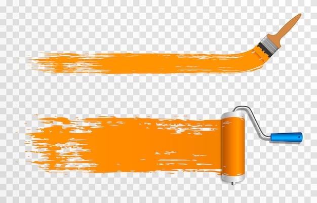 Rolo de pintura artística e pincel escova de rolo de construção png escova de rolo para desenho de tinta c