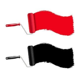 Rolo de pintura vermelho e preto e fundo transparente de traço de tinta