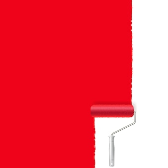 Rolo de pintura vermelho e traço de tinta
