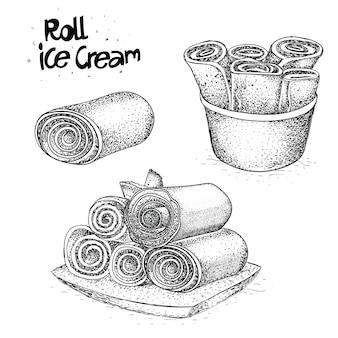 Rolo de sorvete desenhado à mão