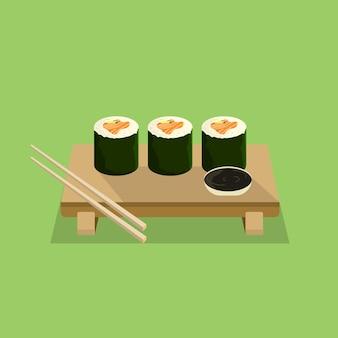 Rolo de sushi com design plano