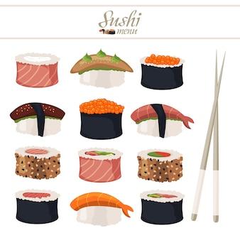 Rolo de sushi com ilustração de pauzinhos