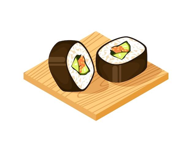 Rolo de sushi na placa de madeira