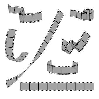 Rolo de tira de filme de cinema 35mm quadro de slides em branco vector