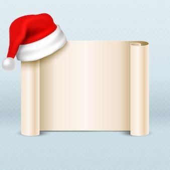 Rolo do pergaminho do papel vazio com o chapéu do vermelho de papai noel. cartão de férias de natal. mensagem de natal com ilustração de chapéu de papai noel