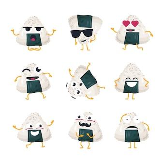 Rolo engraçado com nori - emoticons de desenhos animados isolados de vetor. emoji fofo com um personagem legal. uma coleção de comida japonesa com raiva, surpresa, felicidade, loucura, risada e tristeza em fundo branco