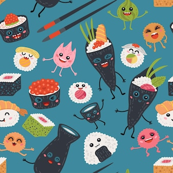 Rolos de kawaii sem costura padrão e fundo de sushi para bebê. crianças fofas marisco japonês