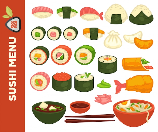 Rolos de sushi e culinária japonesa.