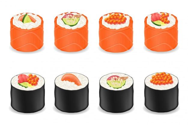 Rolos de sushi em peixe vermelho e algas nori ilustração vetorial