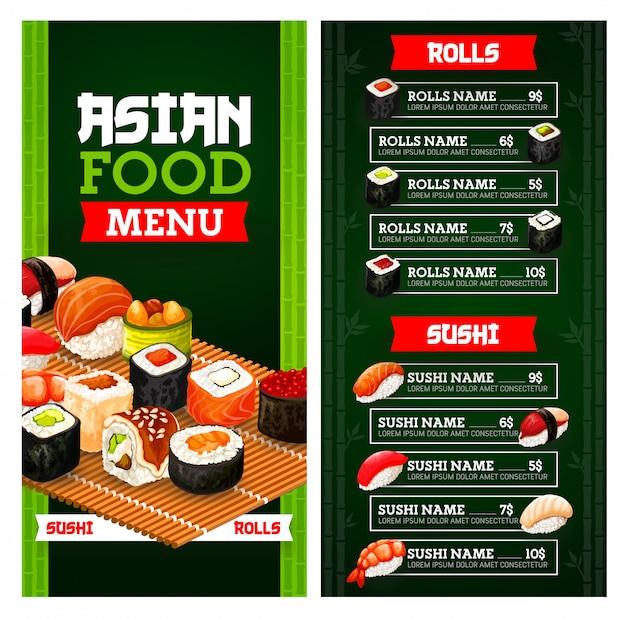 Rolos de sushi japonês e nigiri com arroz e peixe