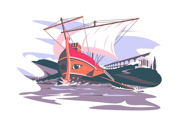 Roma antiga composição de barco ilustração vetorial coliseu e famoso edifício estilo plano arquitetura marco mundial e conceito de viagem isolado