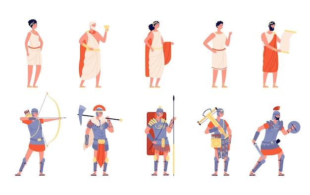 Roma antiga. povo antigo, personagem isolado do império romano. pessoa medieval grega de história, conjunto de vetores de imperador guerreiro histórico dos desenhos animados. cidadão tradicional antigo, romano e gladiador