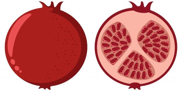 Romã inteira e metade. ilustração em vetor desenho fruta isolada