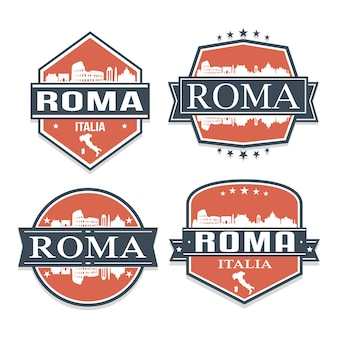 Roma itália conjunto de viagens e negócios stamp desenhos