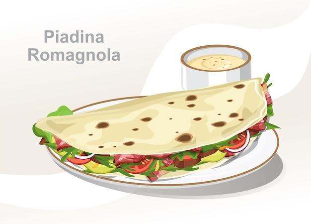 Romagna piadina, piadina de pão italiano, ilustração vetorial, isolada no fundo branco.