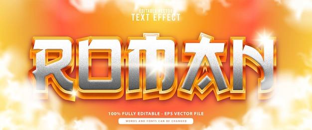 Roman, premium vector editável moderno 3d branco metálico ouro brilhante estilo efeito de texto, perfeito para impressão, alimentos e bebidas ou títulos de jogos.