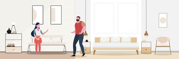Romance de casal modern interior da sala de estar.