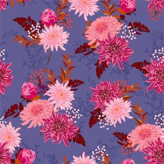 Romântica retro flor desabrochando em muitos tipos de flores no jardim padrão sem emenda