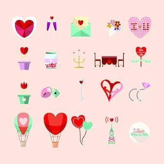 Romântico, coleção de ícone de amor