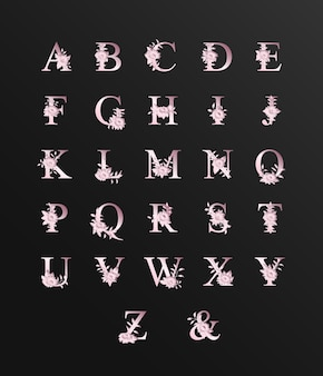 Romântico lindo alfabeto rosa para casamento com flores