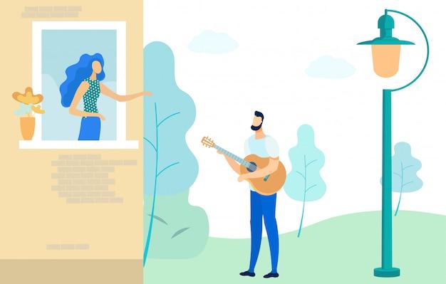 Romântico namoro casal, homem tocando guitarra plana.