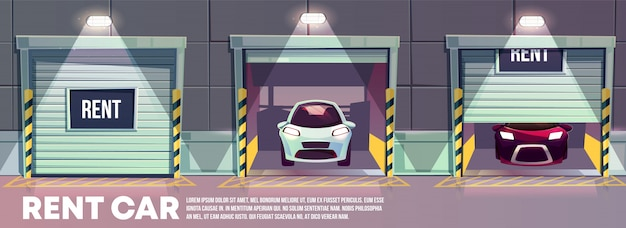 Ronda o relógio de carros de serviço de aluguel de desenhos animados banner com vários automóveis modernos em pé