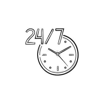 Ronda o relógio ícone de doodle de contorno desenhado de mão de serviço 24-7. atendimento ao cliente, assistência, conceito disponível