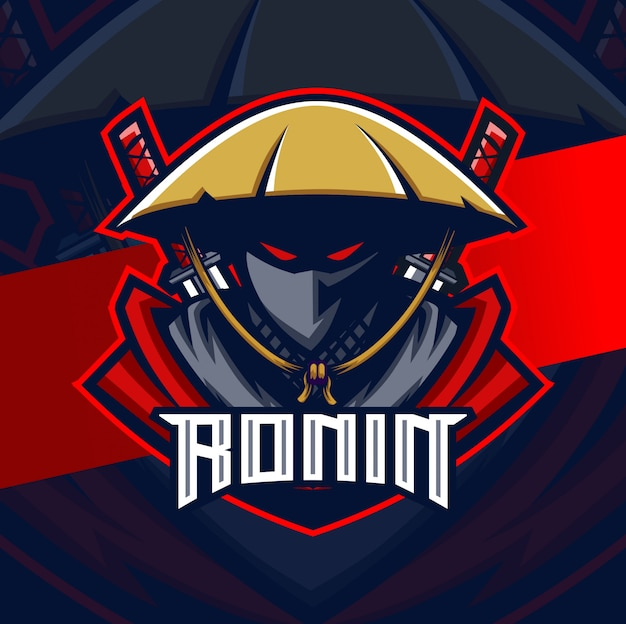 Ronin samurai mascote esport logotipo design personagem