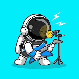 Roqueiro de astronauta bonito canta com ilustração de ícone de vetor de desenho animado de guitarra. vetor premium isolado do conceito de ícone de ciência musical. estilo flat cartoon