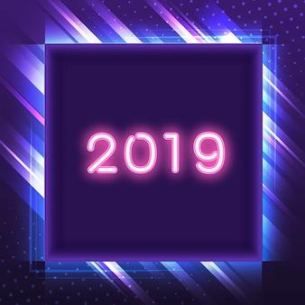 Rosa 2019 em um sinal de néon quadrado azul