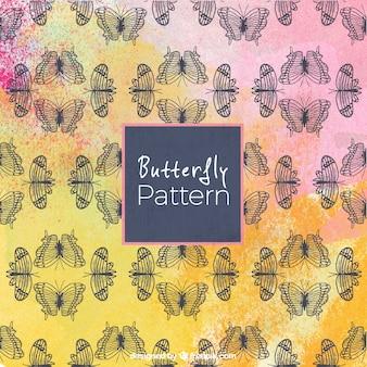 Rosa, amarela, borboleta, patter, fundo